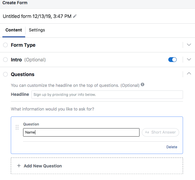 Screenshot of Facebook Lead Ads Form